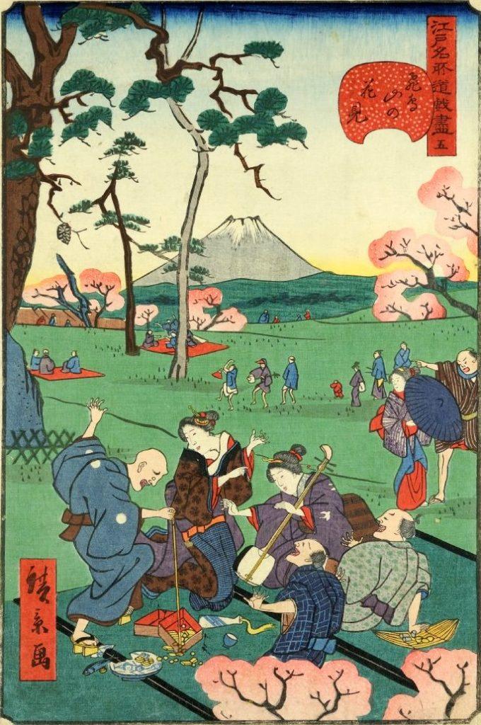 「五 飛鳥山の花見」(1859年)(『江戸名所道戯尽』より、歌川広景 画)の拡大画像
