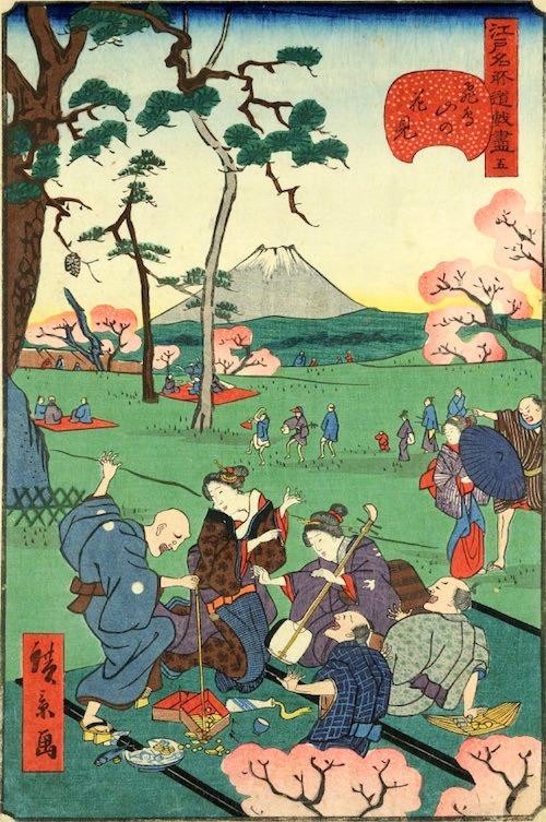 「五 飛鳥山の花見」(1859年)(『江戸名所道戯尽』より、歌川広景 画)