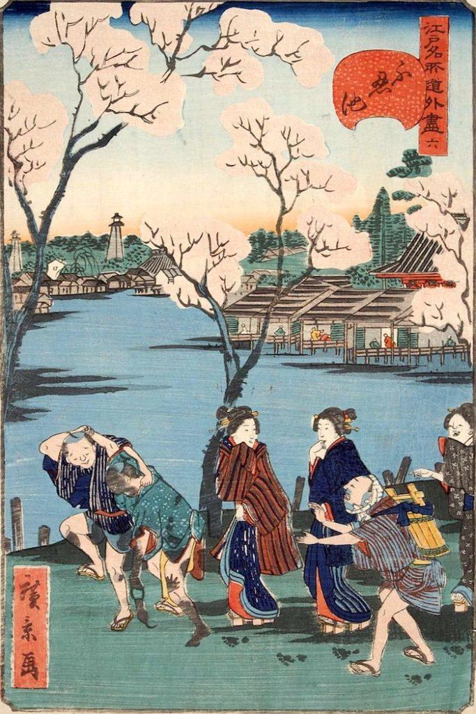 「六 不忍池」(1859年)(『江戸名所道戯尽』より、歌川広景 画)の拡大画像