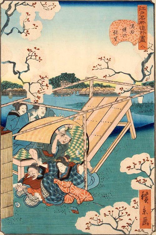 「八 隅田堤の弥生」(1859年)(『江戸名所道戯尽』より、歌川広景 画)