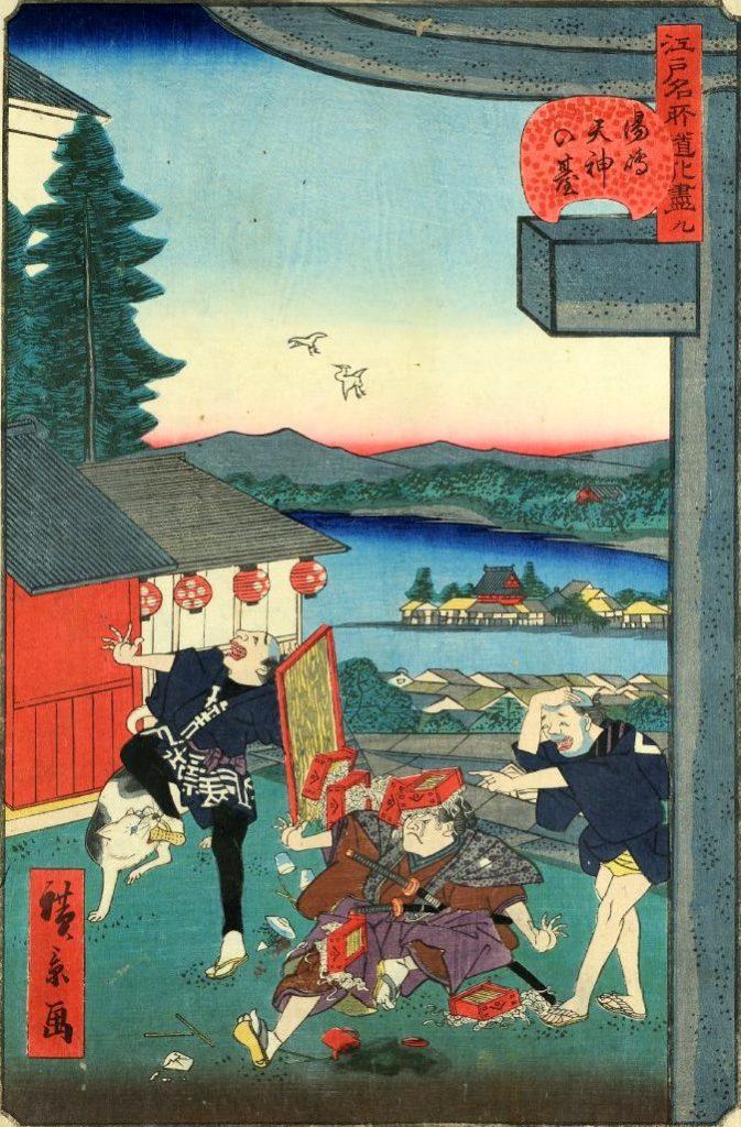 「九 湯島天神の台」(1859年)(『江戸名所道戯尽』より、歌川広景 画)の拡大画像