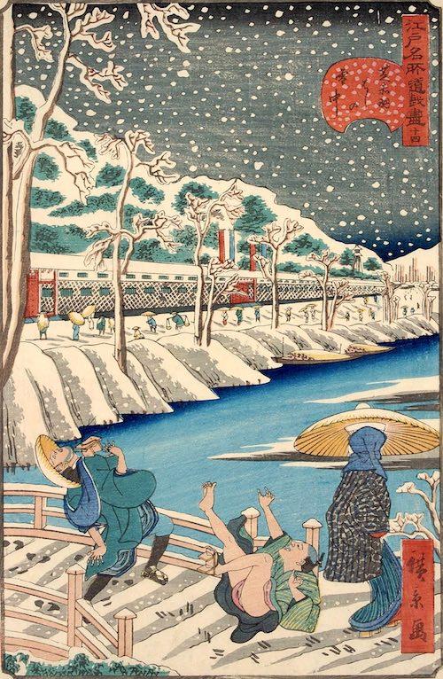 「十四 芝赤羽はしの雪中」(1859年)(『江戸名所道戯尽』より、歌川広景 画)