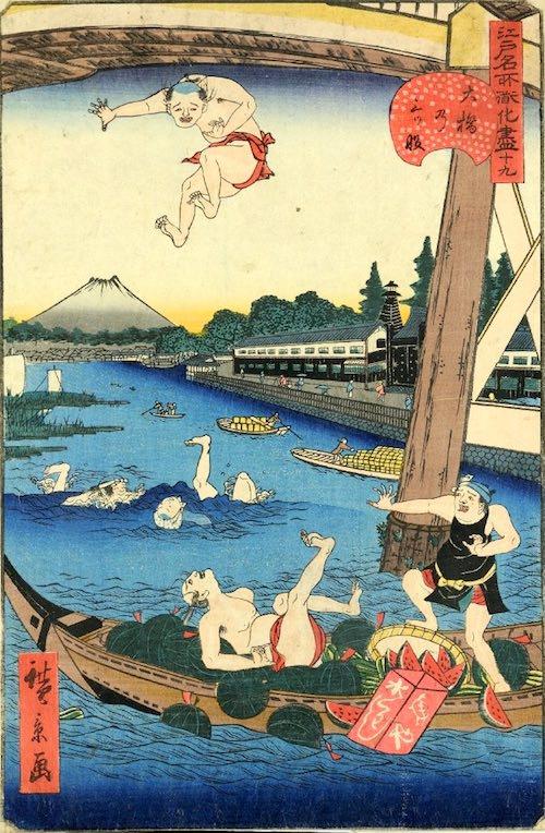 「十九 大橋乃三ツ股」(1859年)(『江戸名所道戯尽』より、歌川広景 画)