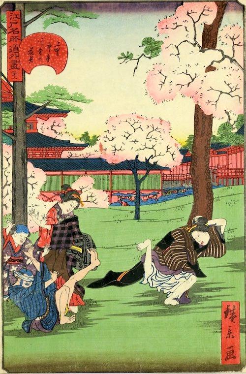 「二十一 上野中堂二ツ堂花見」(1859年)(『江戸名所道戯尽』より、歌川広景 画)