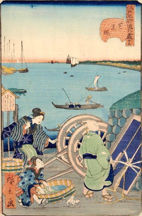 「廿三 芝高縄」(1859年)(『江戸名所道戯尽』より、歌川広景 画)