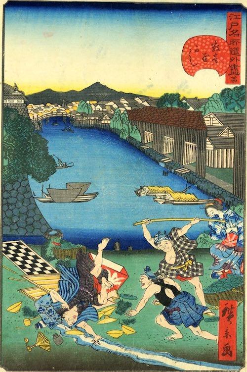 「廿四 数寄屋かし」(1859年)(『江戸名所道戯尽』より、歌川広景 画)