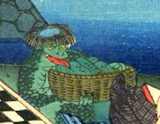 川から上がってきたカッパ(『江戸名所道戯尽』より、歌川広景 画)