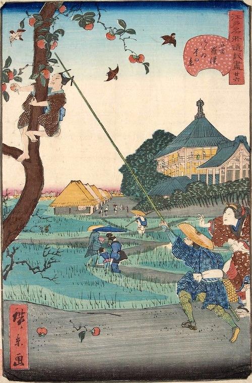 「廿六 五百羅漢さゝゐ堂の景」(1859年)(『江戸名所道戯尽』より、歌川広景 画)