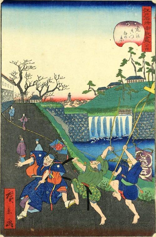 「廿九 虎の御門外の景」(1859年)(『江戸名所道戯尽』より、歌川広景 画)