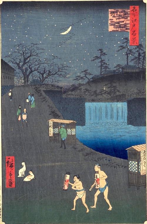 『名所江戸百景』より「虎の門外あふひ坂」(歌川広重 画)