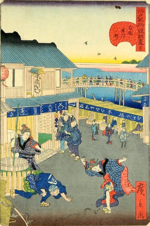 「三十 両国米沢町」(1859年)(『江戸名所道戯尽』より、歌川広景 画)