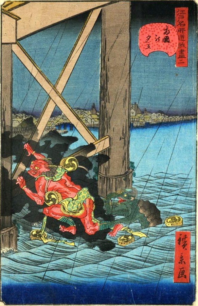 「二 両国の夕立」(1859年)(『江戸名所道戯尽』より、歌川広景 画)の拡大画像