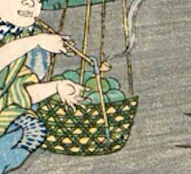 キセルにキセルが引っかかる様子(「四十 四ツ木通りの引ふね」、歌川広景 画)
