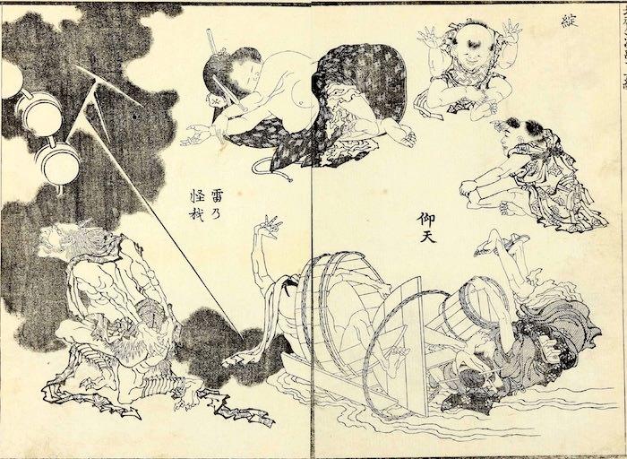 『北斎漫画』(第12編)より「雷乃怪我」(葛飾北斎 画)