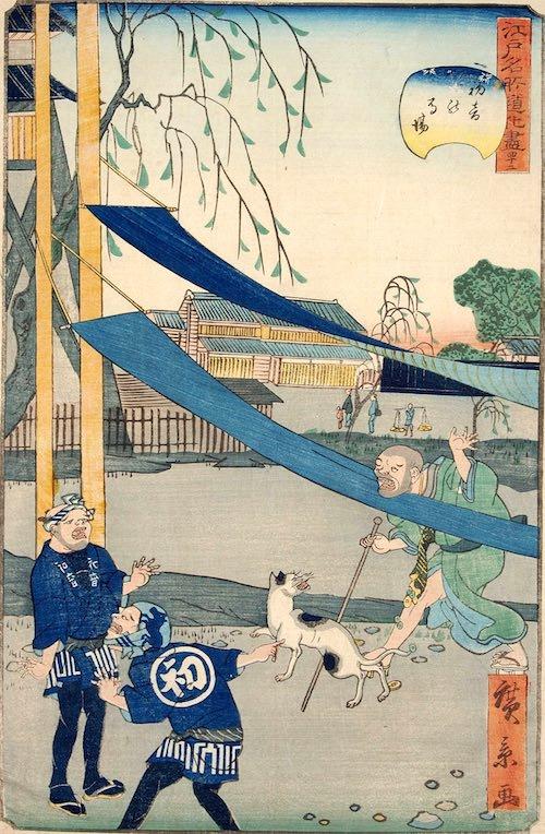 「四十二 初音の馬場」(1860年)(『江戸名所道戯尽』より、歌川広景 画)
