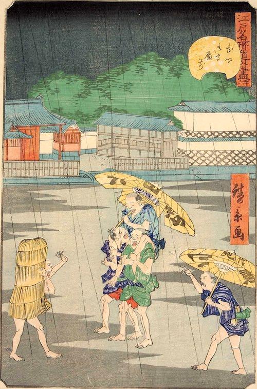 「四十六 本郷御守殿前」(1861年)(『江戸名所道戯尽』より、歌川広景 画)