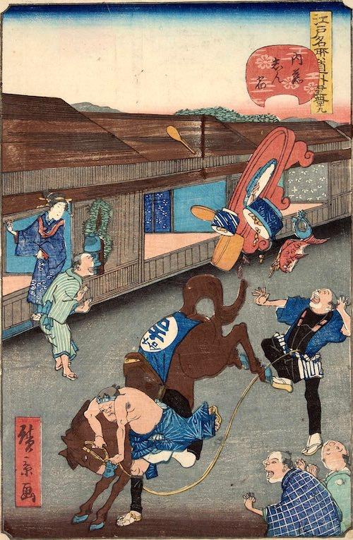 「四十九 内藤しん宿」(1861年)(『江戸名所道戯尽』より、歌川広景 画)