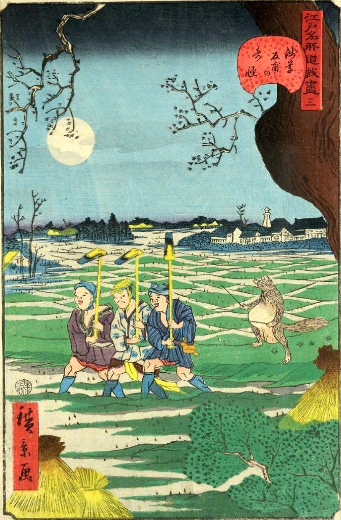 「三 浅草反甫の奇怪」(1859年)(『江戸名所道戯尽』より、歌川広景 画)の拡大画像