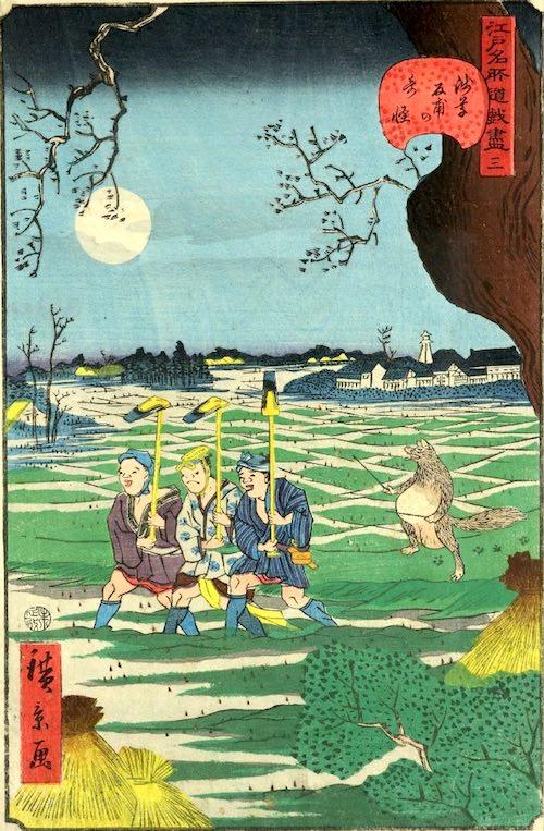 「三 浅草反甫の奇怪」(1859年)(『江戸名所道戯尽』より、歌川広景 画)