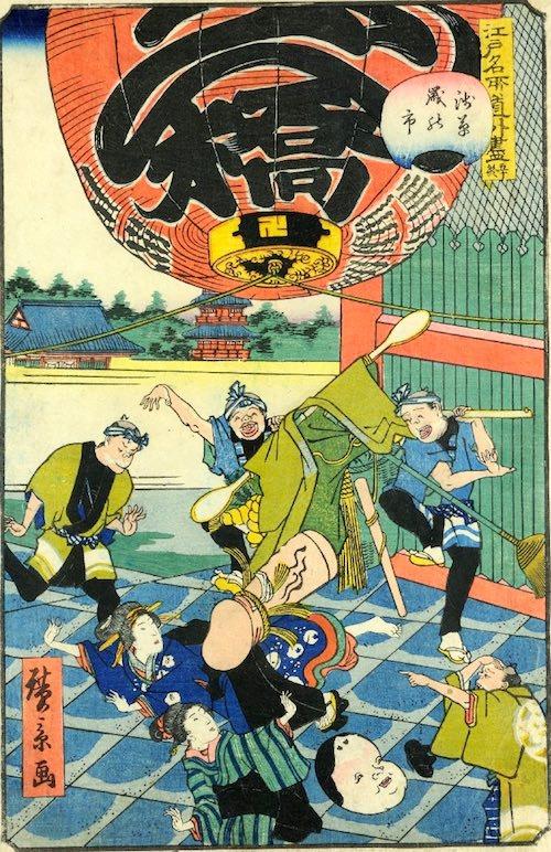 「五十終 浅草歳の市」(1861年)(『江戸名所道戯尽』より、歌川広景 画)
