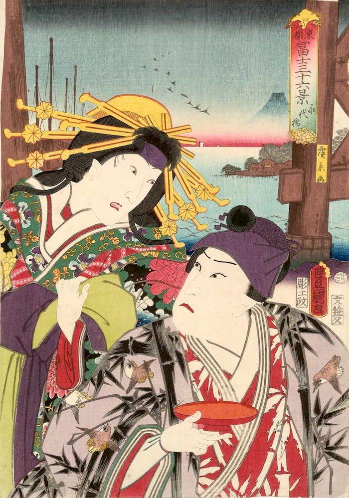 「永代橋」(1860年)(『東都冨士三十六景』より、歌川国貞 画/歌川広景 背景)の拡大画像