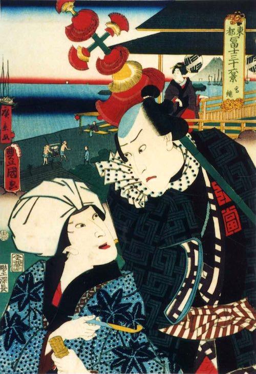 「高輪」(1860年)(『東都冨士三十六景』より、歌川国貞 画/歌川広景 背景)