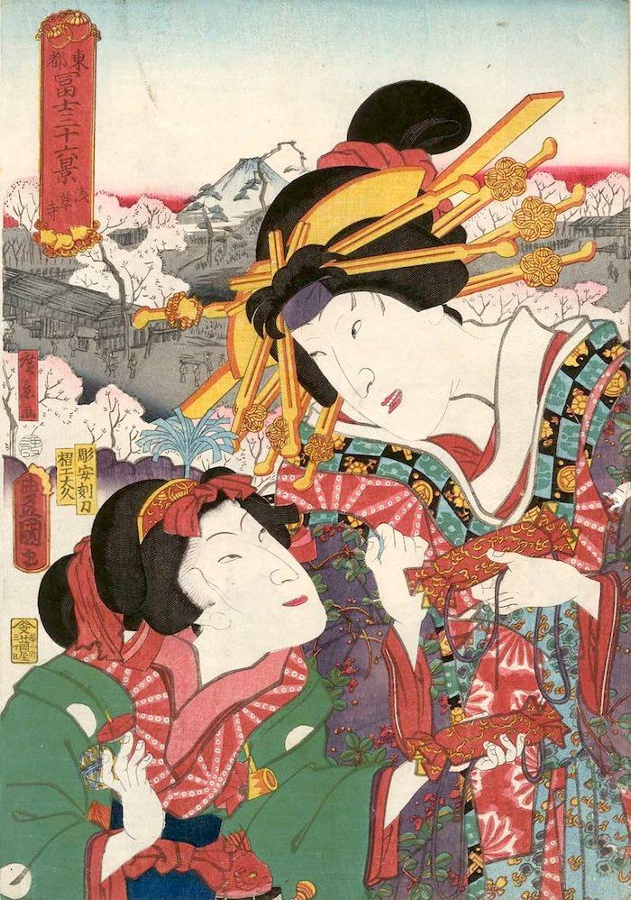 「浅草寺」(1860年)(『東都冨士三十六景』より、歌川国貞 画/歌川広景 背景)の拡大画像