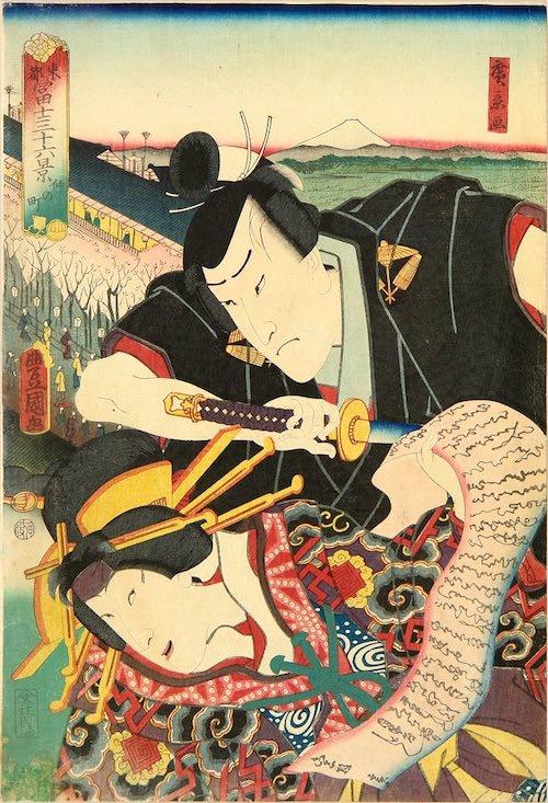 「仲の町」(1860年)(『東都冨士三十六景』より、歌川国貞 画/歌川広景 背景)