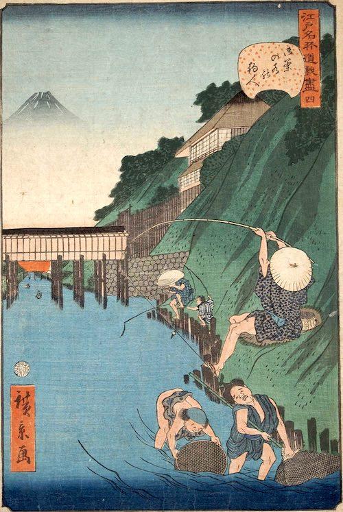 「四 御茶の水の釣人」(1859年)(『江戸名所道戯尽』より、歌川広景 画)