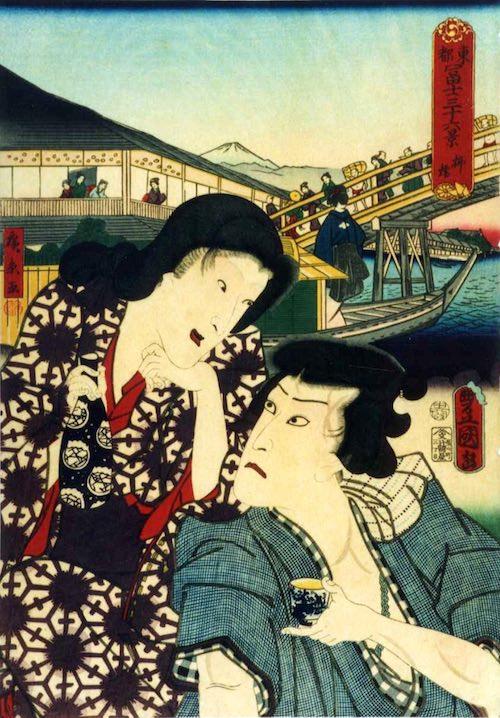 「柳橋」(1860年)(『東都冨士三十六景』より、歌川国貞 画/歌川広景 背景)