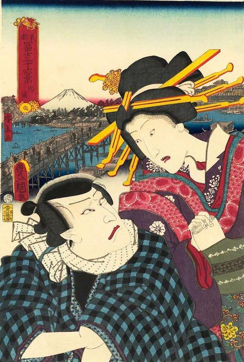 「両国」(1860年)(『東都冨士三十六景』より、歌川国貞 画/歌川広景 背景)