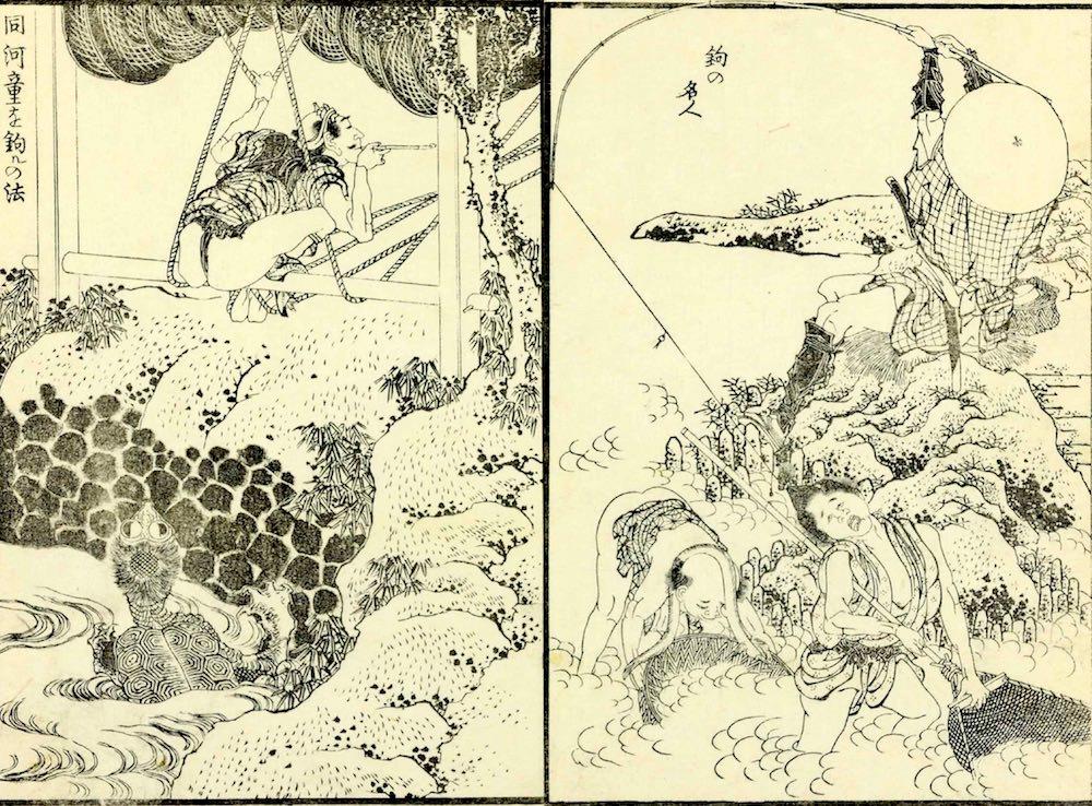 『北斎漫画』(第12編)より「釣の名人」(葛飾北斎 画)の拡大画像