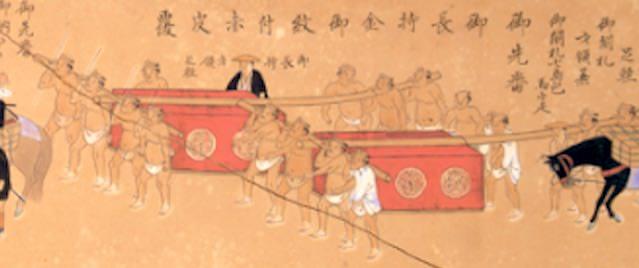 大名行列で運ばれる収納具「長持」(『拾万石御加増後初御入国御供立之図』部分)