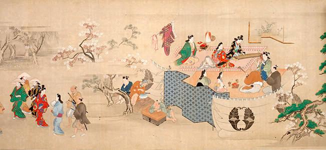 華やかな元禄文化を伝える『江戸風俗絵巻』(菱川師宣 画)