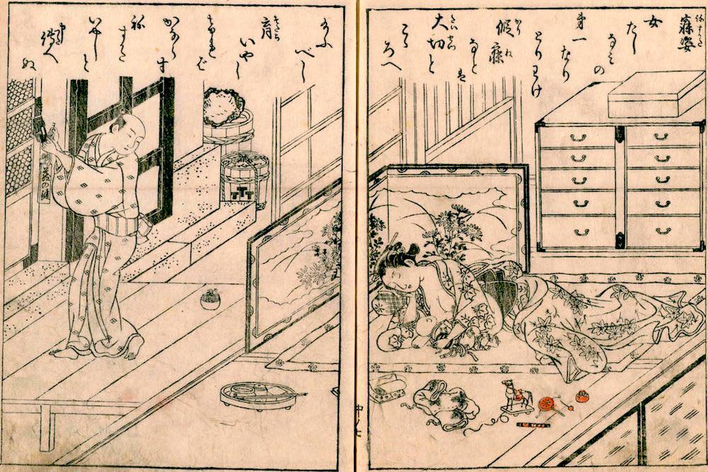 江戸時代の庶民がもつ桐箪笥(閂箪笥)(『絵本江戸紫』より)の拡大画像