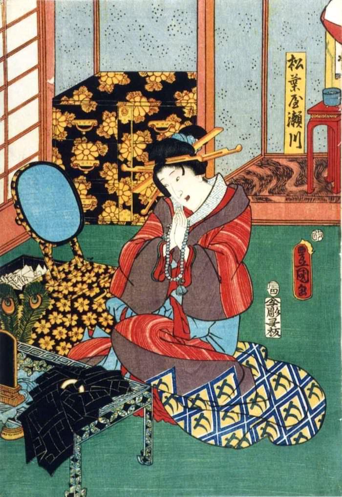 松葉屋の遊女・瀬川のプライベートルーム。背後に見えるのはゴージャルな箪笥(『松葉屋瀬川』三代歌川豊国 画)の拡大画像
