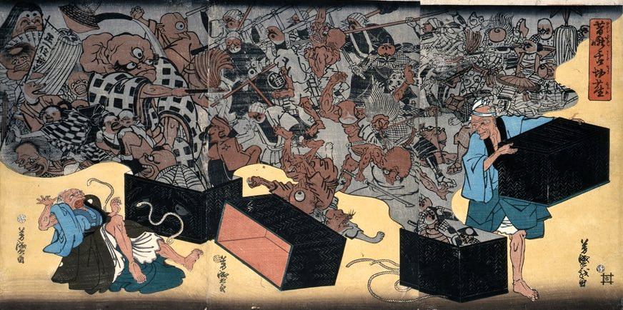 葛籠が登場する昔話といえば『舌切りスズメ』が有名(『昔噺舌切雀』歌川芳盛 画)の拡大画像