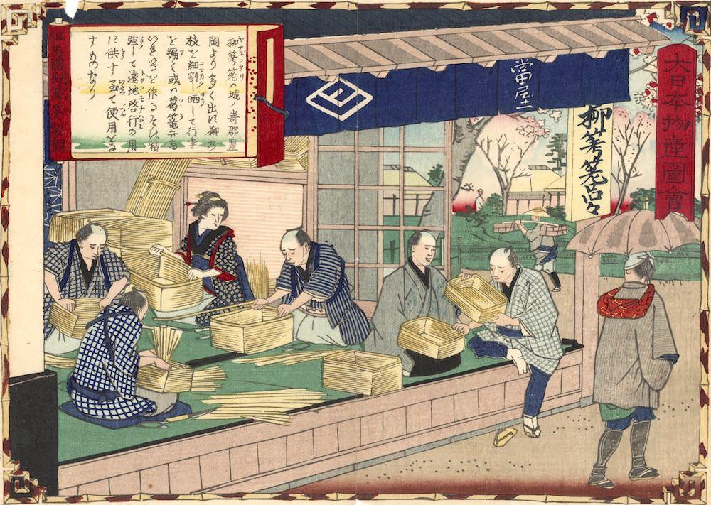 柳行李の産地として但馬国が有名だった(『大日本物産図会 但馬国 柳行李製図』三代歌川広重 画)の拡大画像