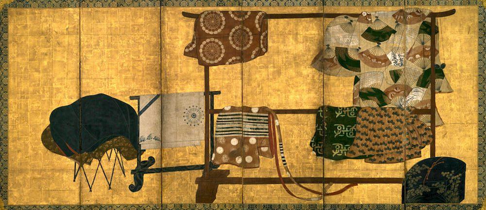 着物専用の収納家具「衣桁(いこう)」(『誰が袖屏風』部分より)の拡大画像