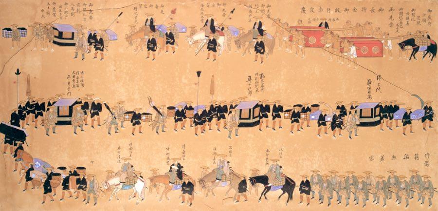 津山藩の藩主・松平斉孝の大名行列(『拾万石御加増後初御入国御供立之図』部分)の拡大画像