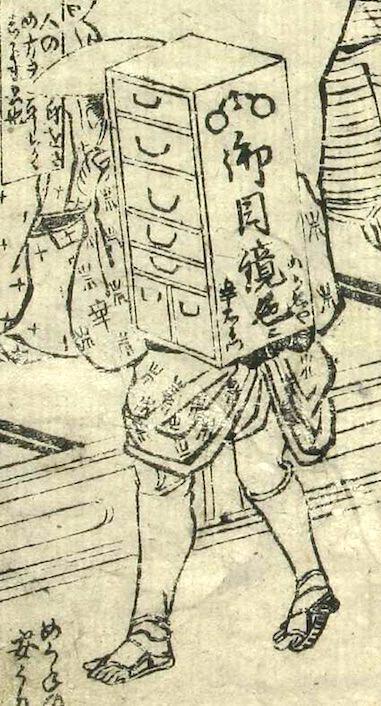 江戸時代の行商スタイルの眼鏡屋