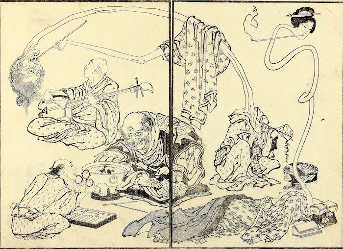 妖怪たちの生活を描いた漫画(『北斎漫画』葛飾北斎 画)