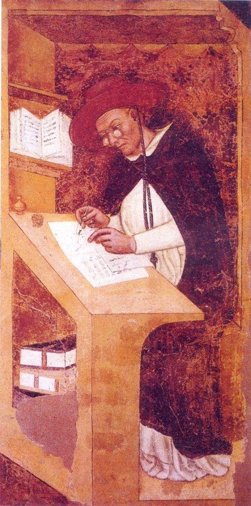 眼鏡をかけた人物を描いた最古の絵(『枢機卿ウーゴ・ディ・プロヴェンツァ』)の拡大画像