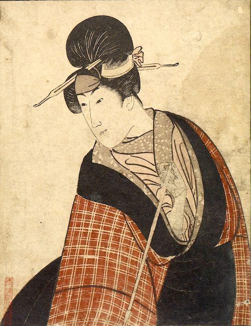 八代目森田勘弥(かんや)の駕籠かき鶯の治郎作(じろさく)(初代歌川豊国 画)