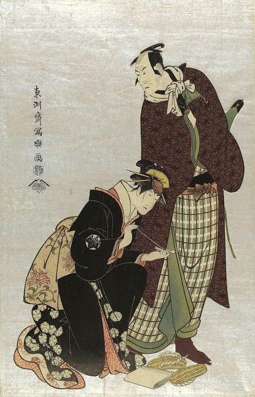 四世松本幸四郎の新口村孫右衛門と中山富三郎の梅川(東洲斎写楽 画)