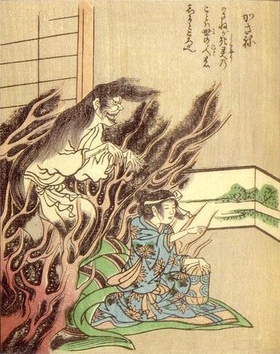 『累ヶ淵』の幽霊・累(怪談集『絵本百物語』より)