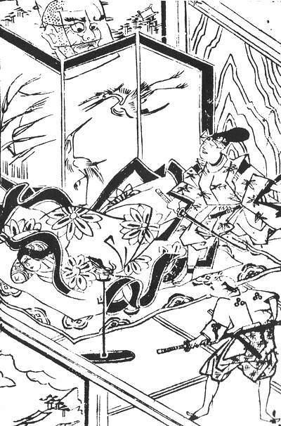 「小笠原どの家に大坊主ばけ物の事」の挿絵(『諸国百物語』2巻に収録、著者不明)