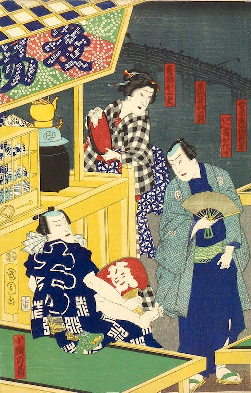 江戸時代の麦茶のお店(歌川国周 画)