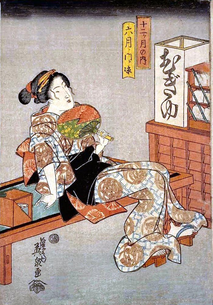 麦湯の女。麦茶を提供する「麦湯店」の看板娘(『十二ケ月の内 六月門涼』渓斎英泉 画)の拡大画像