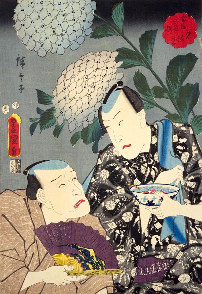 江戸時代のところてんを手にもつ男性(『当盛六花撰 紫陽花』歌川豊国・歌川広重 画)の拡大画像